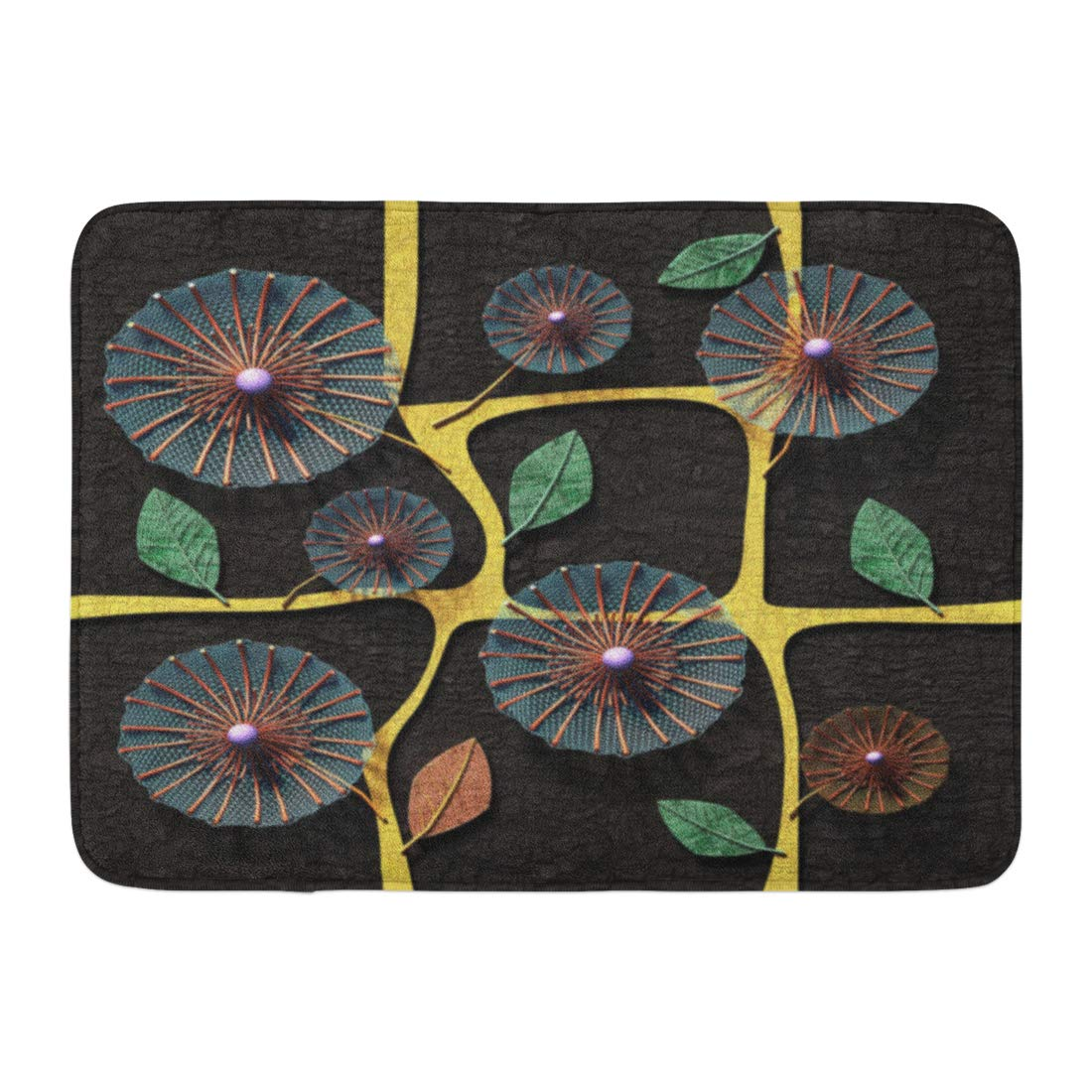 GODPOK Abstract Brown Wall 3D Copper Flowers Red Wood Golden Rug Doormat Bath Mat 23.6x15.7 inch