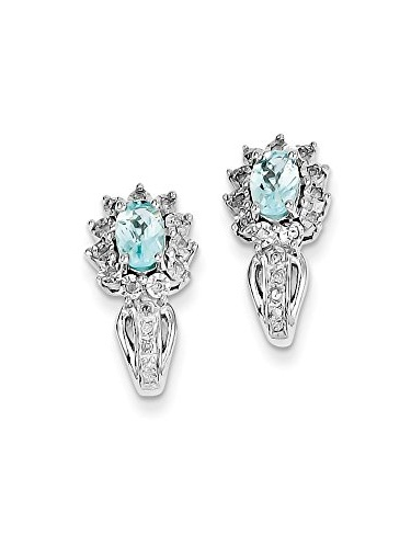 .925 Sterling Silver Genuine Diamond and Swiss Blue Topaz Post Stud Earrings (0.10 CTTW, I-J Color, I2 Clarity) by Dangle-Earrings