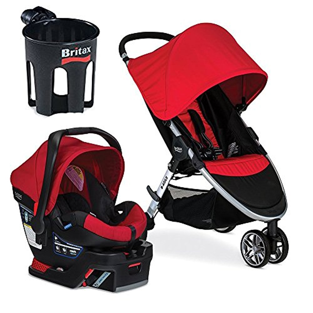 Britax 2017 B-Agile B-Safe 35 Travel System & Cup Holder, Red by Britax