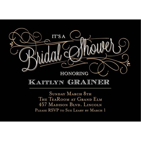 Classic Script Standard Bridal Shower Invitation (Black And White Party Invitations)