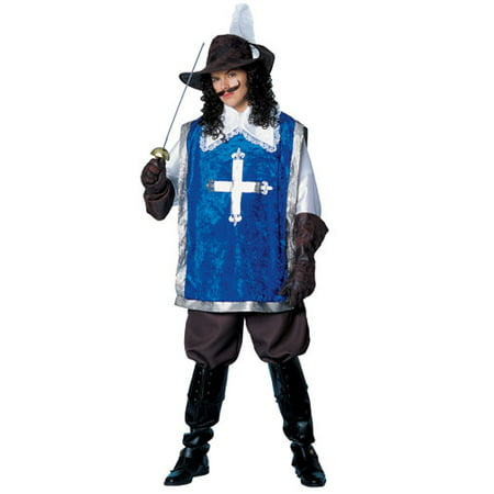 Mens Blue Musketeer Adult Costume Standard Size 42-46 (Musketeer Costume)