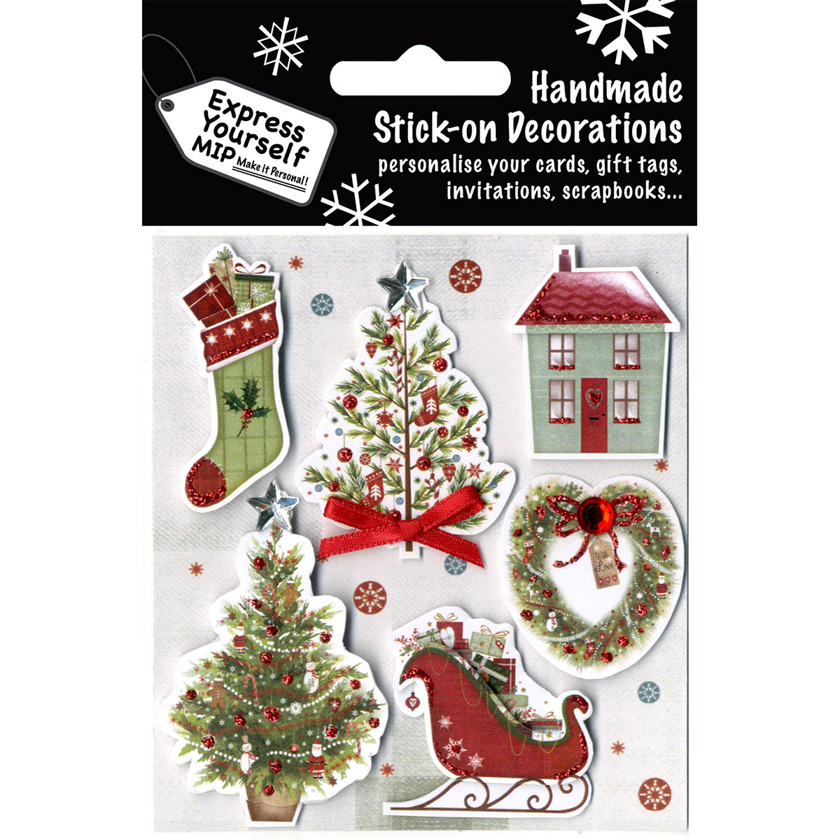 Express Yourself Mip 3D Stickers-Trees, Stocking, House & Sleigh