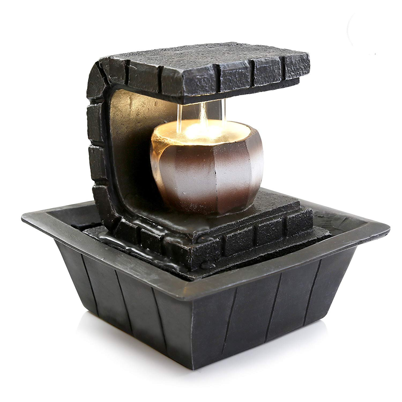 Portable Waterfall Fountain: Electric Meditation Water Fountain Decor