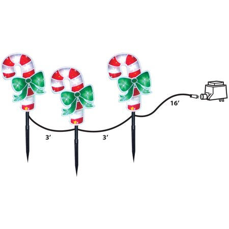 "Image of ""18"""" Candy Cane Stake with 36 LED Lights, Set of 3"""