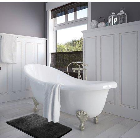 Cottage Bath Rug Collection (Set of 3 Clara Clark Bath Mat Bathroom Rug - Absorbent Memory Foam Bath Rugs - Non-Slip, Thick, Cozy Velvet Feel Microfiber Bathrug - Black - Large 20