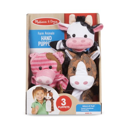 Melissa & Doug Farm Animals Hand 3 Plush Puppets Big Mouth Animal Puppets