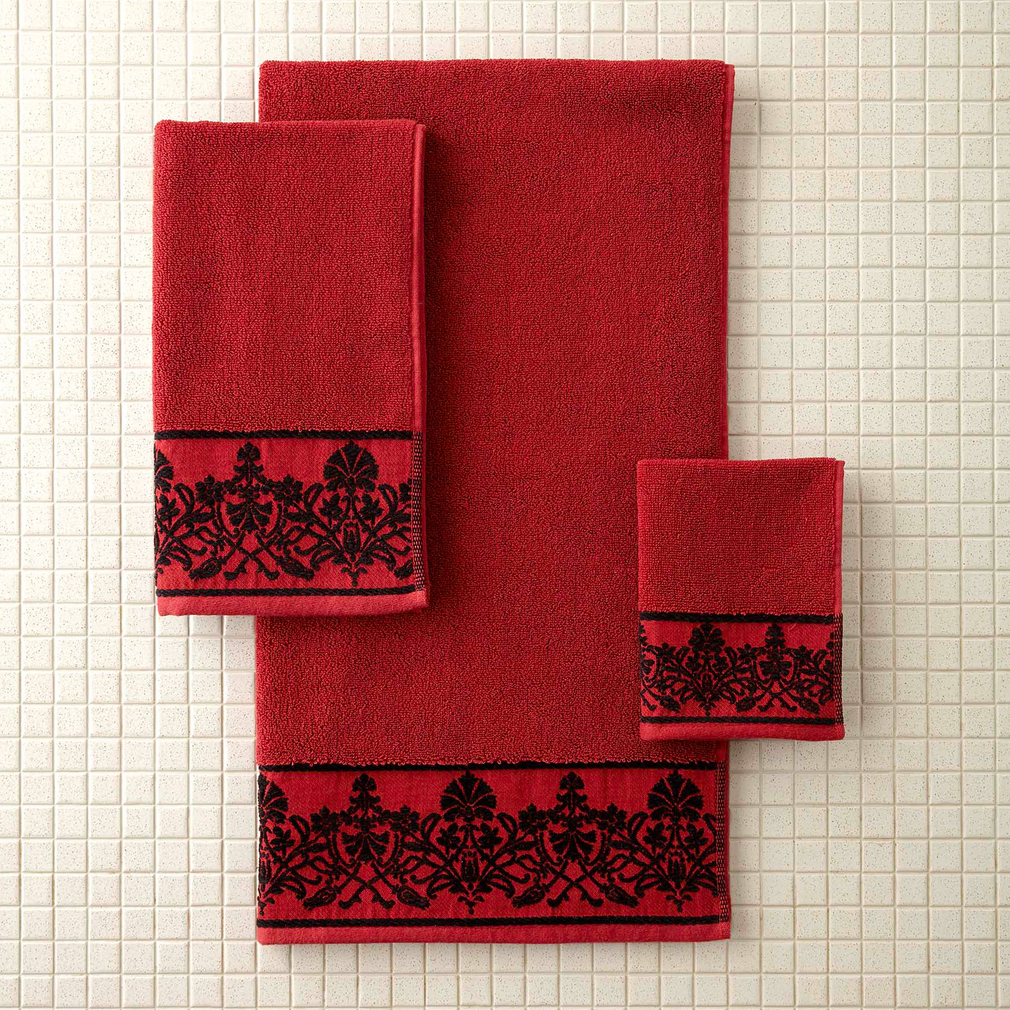 Better Homes and Gardens Red Scroll Decorative Bath Towel Collection