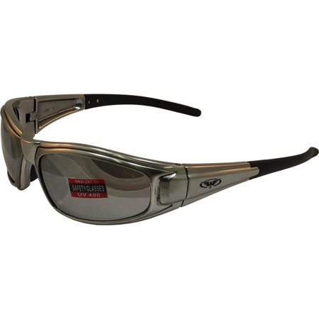 Global Vision Zilla Safety Sunglasses Platinum Silver Frame Flash Mirror Lens ANSI Z87.1 Silver Frame Platinum Mirror Lens