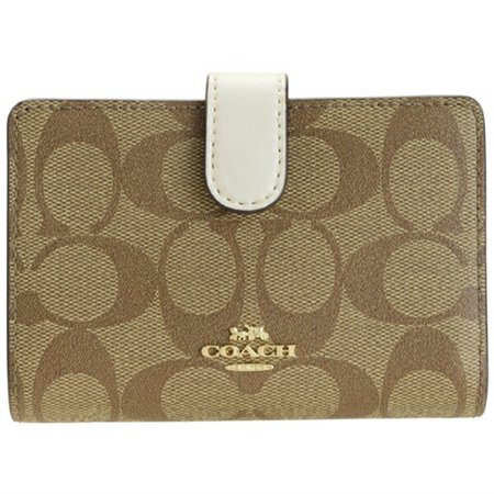 Coach Signature PVC Medium Corner Zip Wallet,