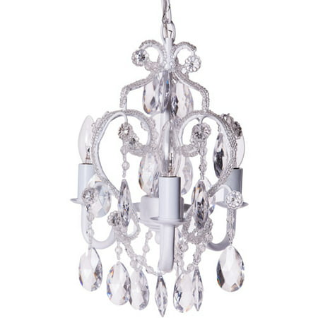 Tadpoles Beaded 3-Bulb Mini Chandelier, White Diamond