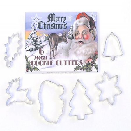 R & M International Vintage Inspired Classic Christmas 6 Piece Cookie Cutter Set in Decorative Gift Box Bakers Favorites - Christmas Cookie Gift Boxes