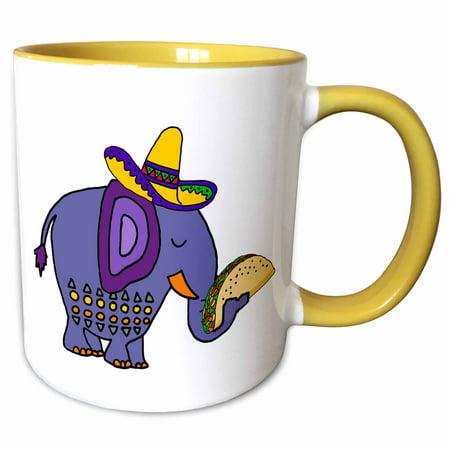 3dRose Cool Funny Blue Elephant eating Taco Mexican Food Cartoon - Two Tone Yellow Mug,