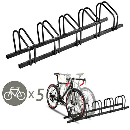 Plastic Bike Stand (Gymax 5 Bike Bicycle Stand Parking Garage Storage Cycling Rack Black )