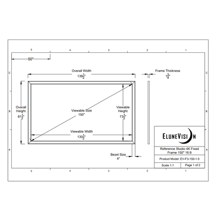 EluneVision Reference Studio 4K 150'' Fixed Frame 16:9 Projector Screen - image 1 de 4
