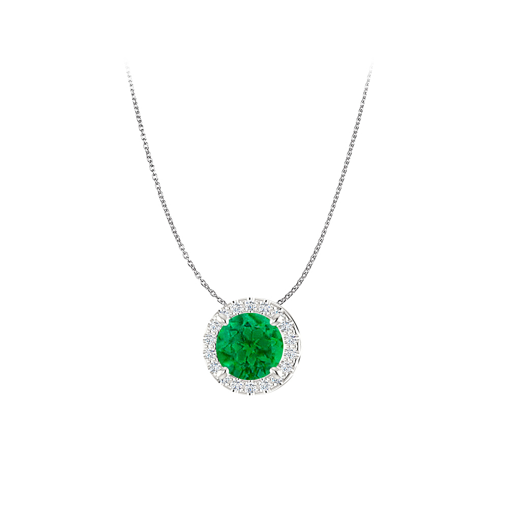 Sophisticated Emerald and CZ Halo Pendant in 925 Silver - image 2 de 2