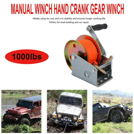 1000lbs Manual Winch Hand Crank Gear For Cars Boat Trailer Lifting Tool