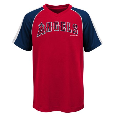 MLB Los Angeles ANGELS TEE Short Sleeve Boys Fashion Jersey Tee 100% Polyester Pin Dot Mesh Jersey Team Tee 4-18