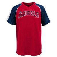 MLB Los Angeles ANGELS TEE Short Sleeve Boys Fashion Jersey Tee 100% Polyester Pin Dot Mesh Jersey Team Tee 4-18