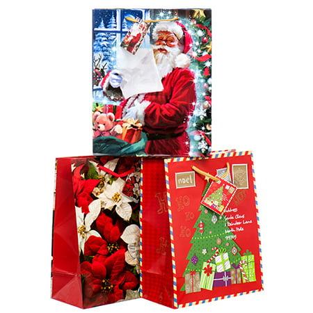 New 363137  Hx Gift Bag Medium Glossy Jolly Old St. Nick Asst Color & Design (12-Pack) Christmas Cheap Wholesale Discount Bulk Seasonal Christmas](Christmas Discount)