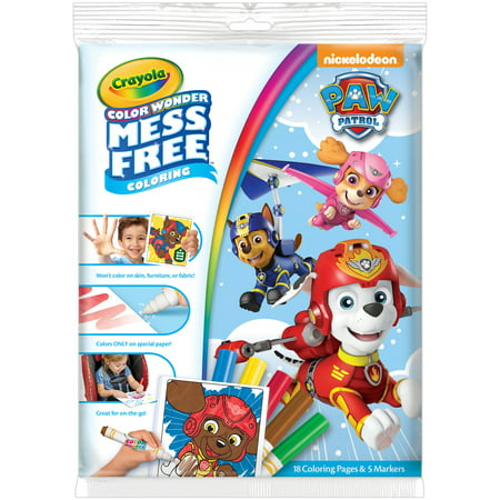 Crayola Color Wonder Paw Patrol Coloring Pad & Markers, Mess Free Coloring, 23