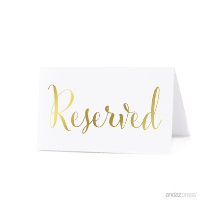 Reserved Metallic Gold Table Tent Place Cards, - Reserved Table Tent