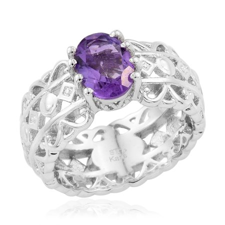 Oval Amethyst Solitaire Ring for Women Jewelry Gift Size 7 Cttw 0.9