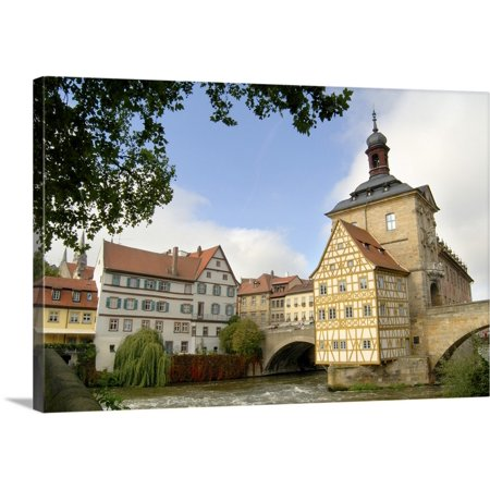 Great BIG Canvas | Jim Engelbrecht Premium Thick-Wrap Canvas entitled Germany, Bamberg, Old Town Hall on the river Regnitz (Great Hall Canvas Art)