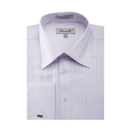 Collar White Shirt - Men's Herringbone French Cuff Shirt