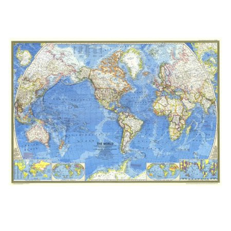 1970 World Map Print Wall Art By National Geographic Maps Walmart Com