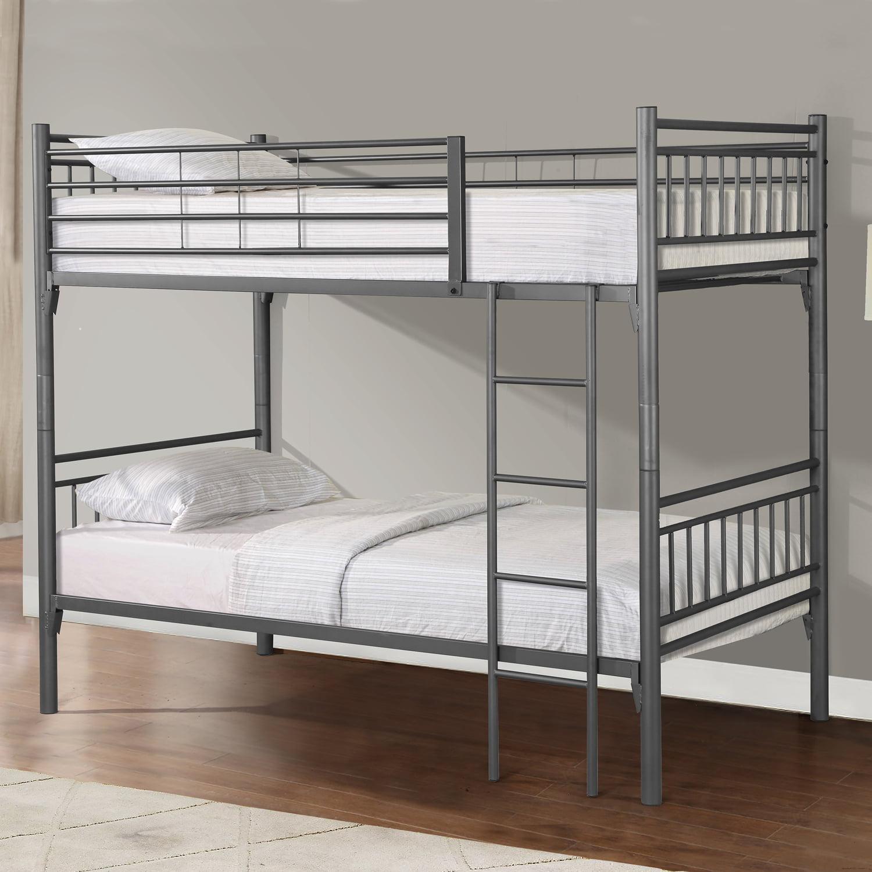 Home Source Grey Metal Twin Bunk Bed
