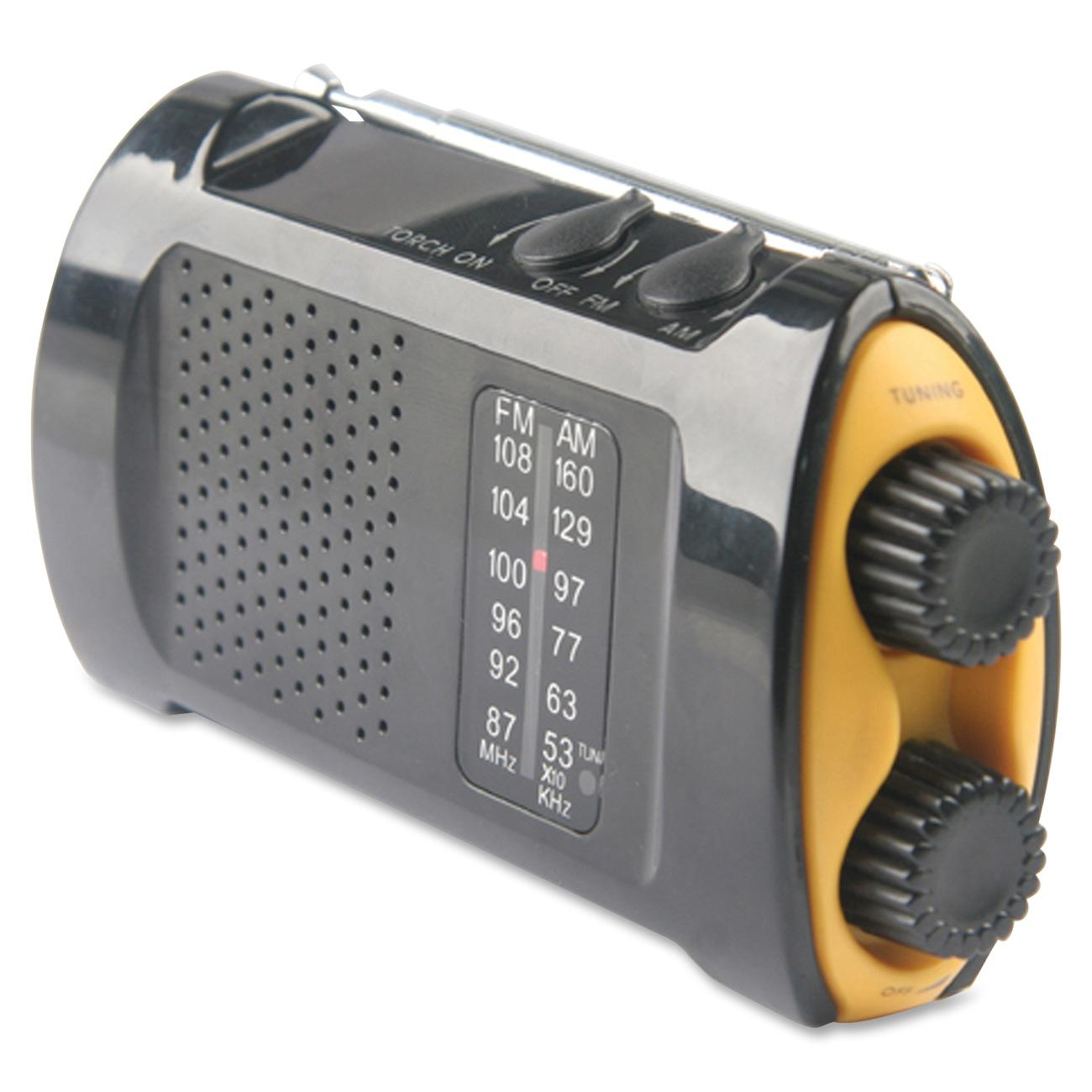 Acme United Portable AM/FMTV Crank Radio, Yellow, Black