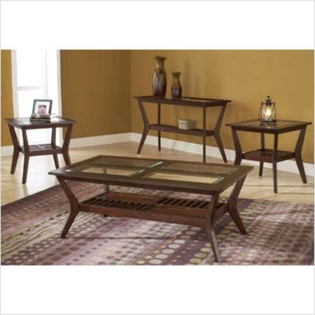 Bernards Caliente Sofa Table Grid And Glass Top In
