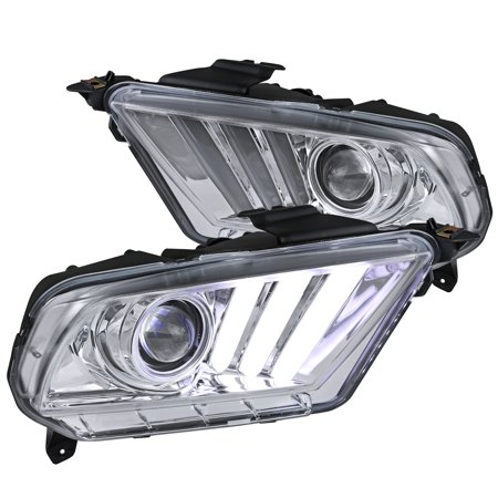 Spec-D Tuning For 2010-2014 Ford Mustang Chrome Clear Projector Headlights Hi-Tech Look Sequential Led 2010 2011 2012 2013 2014 (Left+Right)