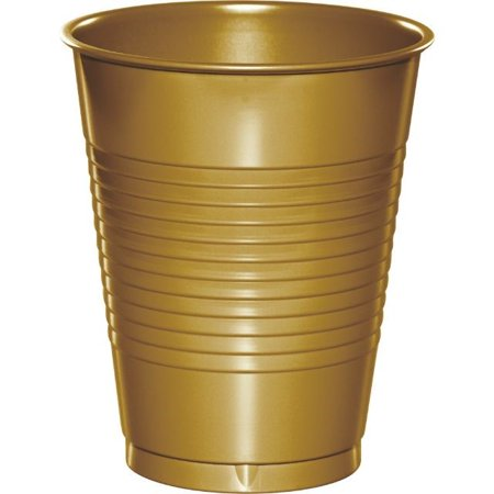 Gold Breakfast Cup (Touch of Color Plastic Cups, 16 Oz, Glittering Gold, 20 Ct )
