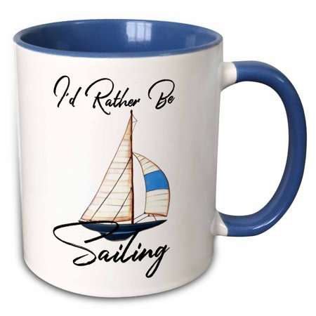 3dRose Id Rather Be Sailing Watercolor Boat Graphic Nautical Quote - Two Tone Blue Mug, 11-ounce