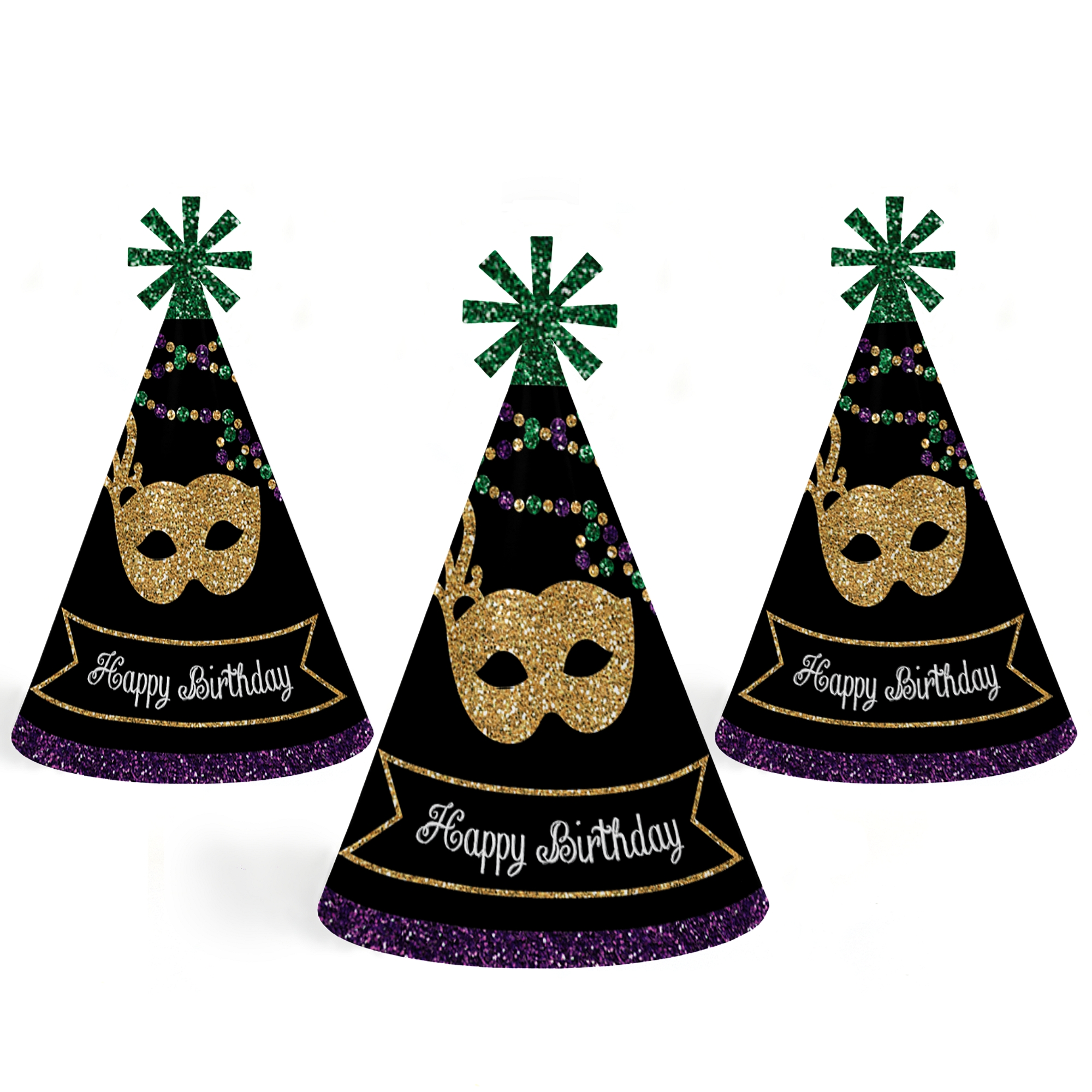 Mardi Gras Cone Happy Birthday Party Hats For Kids And Adults Set Of Standard Size Jpg