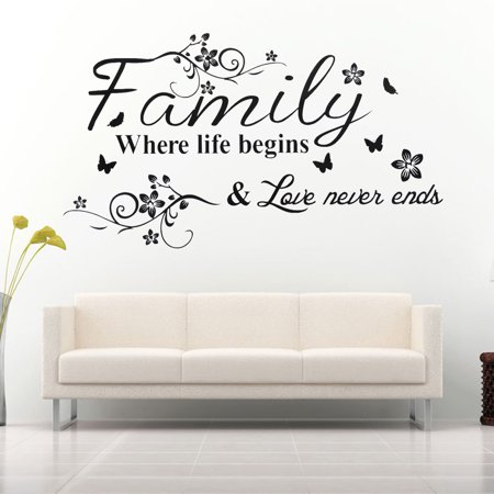 Family Where Life Begins Decal Mural Wall Sticker DIY Art Quote Words Home Decor - Printable Halloween Word Wall Words