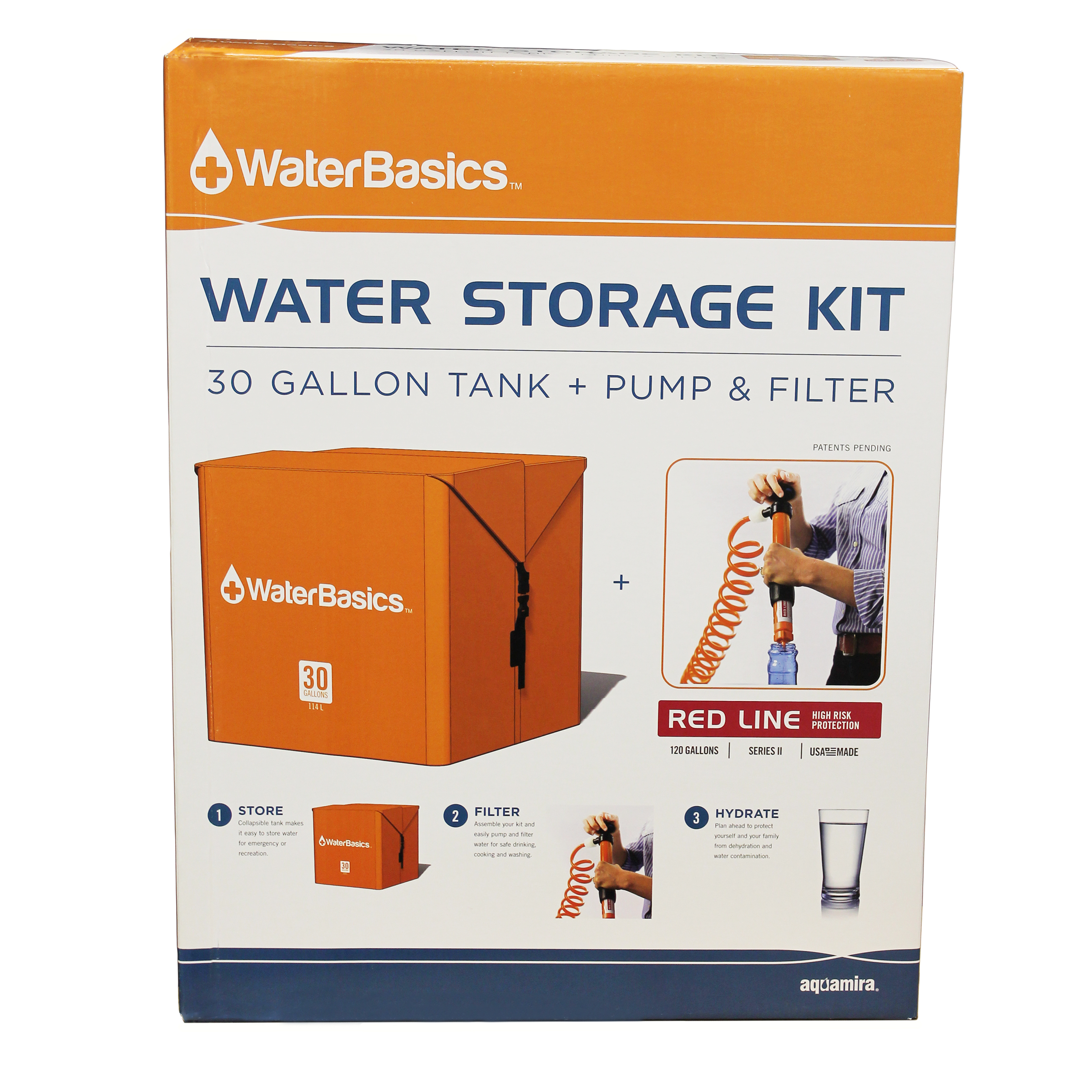 Aquamira WaterBasics Water Storage Kit 30 Gallons with Filter by Aquamira