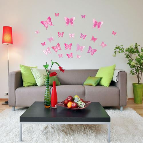 Style and Apply Pink Butterfly Set Vinyl Wall Decals