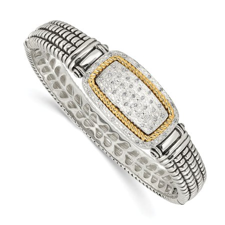 Roy Rose Jewelry Shey Couture Collection Sterling Silver with 14K Yellow Gold 1/4-Carat Diamond Bangle Bracelet 7'' Length