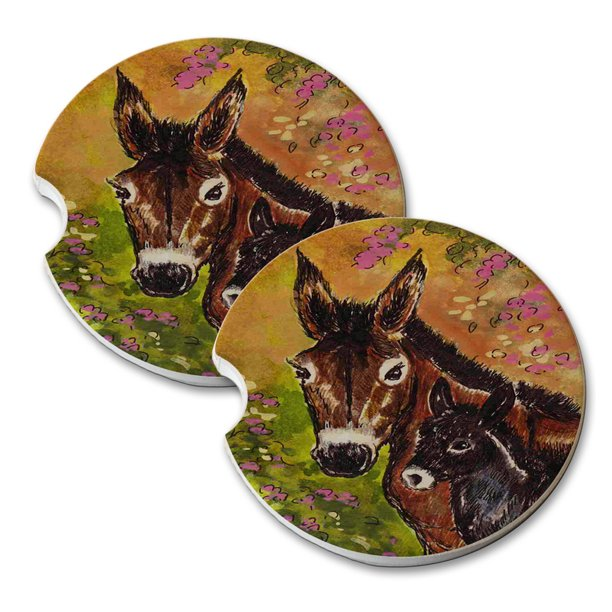 Kuzmark Sandstone Car Drink Coaster Set Of 2 Donkey Jennet And Foal With Pink Clematis Horse Art By Denise Every Walmart Com Walmart Com
