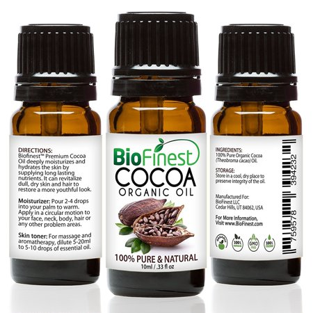 Biofinest Cocoa Organic Oil   100  Pure Cold Pressed   Best Moisturizer For Hair Face Skin Acne Sunburn Cuts Wrinkle Scars Eczema   Essential Magnesium  Antioxidant  Vitamin A   Free E Book  10Ml