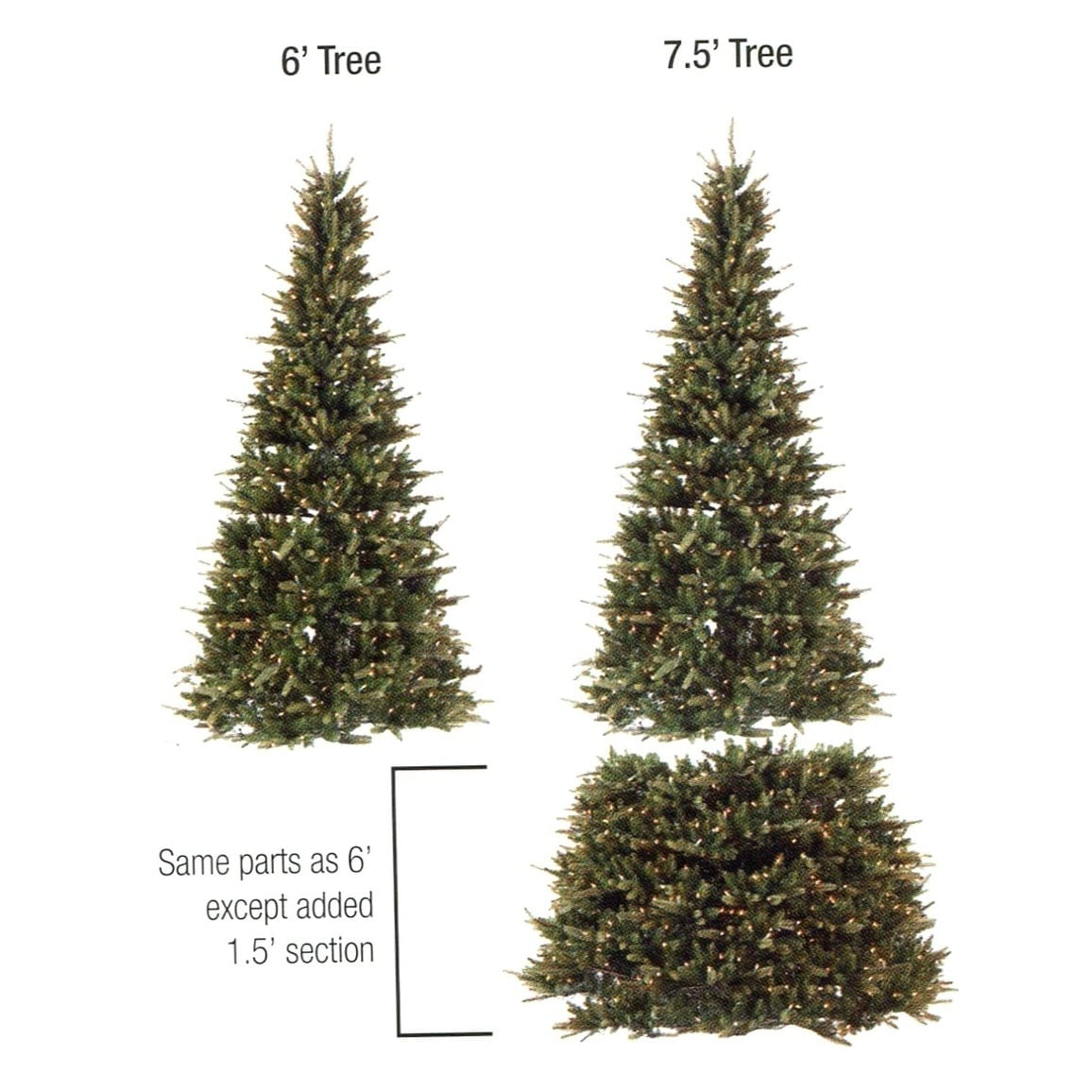 6 7 5 Pre Lit Extend A Tree Artificial Christmas Tree Clear Lights Walmart Com Walmart Com