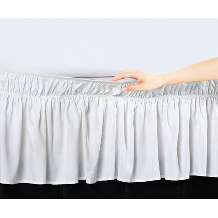 - Elegant Comfort Luxury Wrinkle Resistant -Wrap Around Style- Elastic Bed Wrap Ruffled Bed Skirt 16inch Drop, Queen/King, White