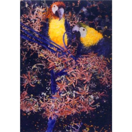 Macaw Couple by Fred Hunt 24x36 Art Print Poster Abstract Painting Colors Parrots Tropical Flowers Plants