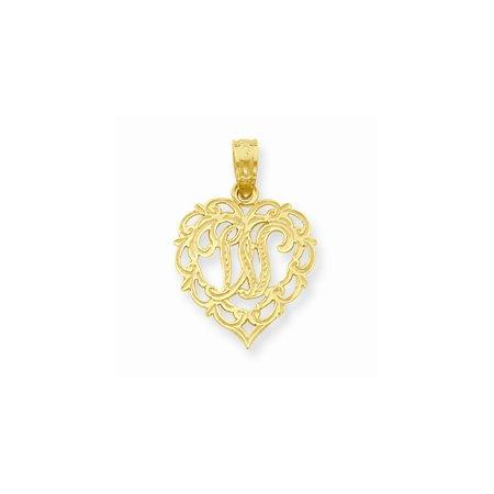 14K Gold W Script Initial In Heart Pendant