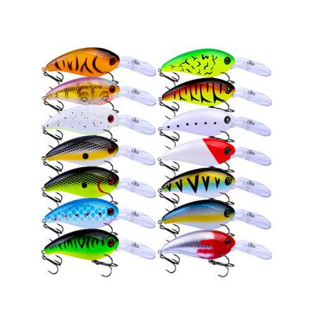 14Pcs Fishing Lures Kits Baits Minnow Crank Bass Lot With Hooks 10cm 15g Hard Artificial Crankbaits Tackle Tiddler Bait (Best Artificial Bait For Bass)