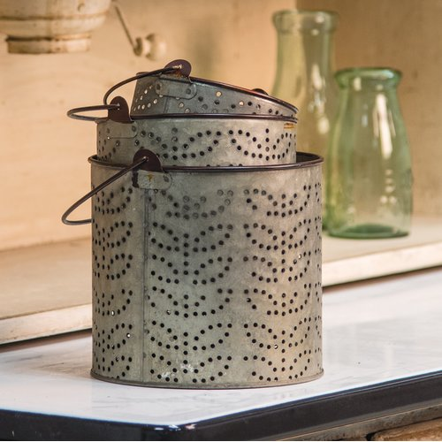 Gracie Oaks 3 Piece Olive Metal Decorative Bucket