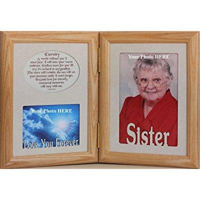 5x7 sister & eternity poem ~ hinged double memorial/bereavement/condolence/sympathy/tribute/funeral keepsake picture photo frame (lightmedium)