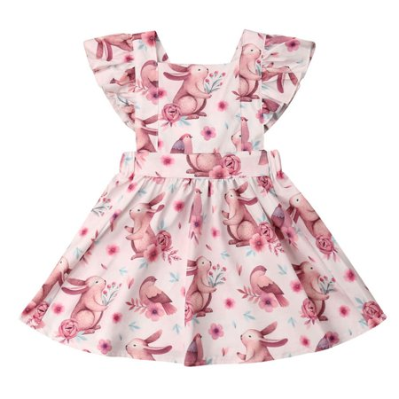Infant Baby Toddler Girls Sleeveless Rabbit Floral Dress Easter Outfits - Baby Halloween Fancy Dress Outfits